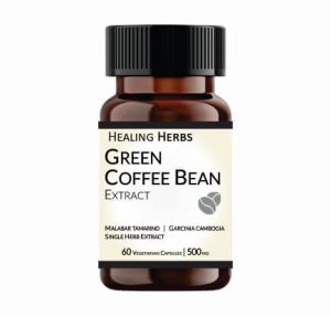 Green Coffee Bean Extract 500 mg Capsules, 60 Capsules in PET 150 cc Amber coloured bottle
