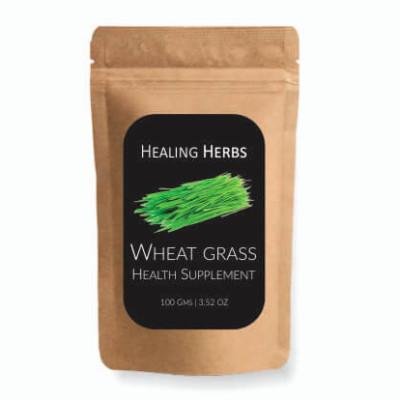 Wheat Grass in 200 gms kraft paper zip pouch sachet